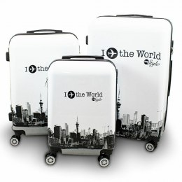 KOMPLET ZESTAW WALIZEK 3 SZT BERWIN FLY THE WORLD WHITE WALIZKI XL+L+M